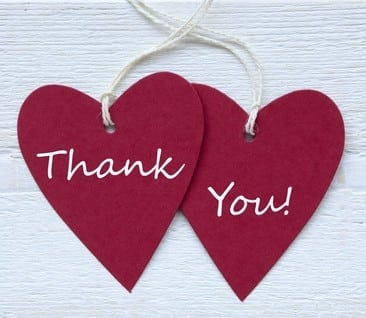 thank you message on two hearts